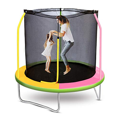 Roanude Trampoline for Kids and Toddlers, Outdoor Bounching Games and Fun for Multiple Children. with Enclosure Net (Pink)