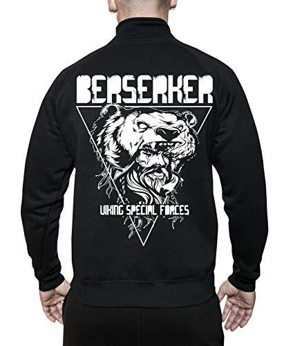 mycultshirt Berserker Jacke | Odin | Vikings | Wikinger | Runen | Germanen | Walhalla | Nordic Mythology | Spirit | Thor | Gott | Krieger |Stehkragenjacke für Männer | Sweatjacke |