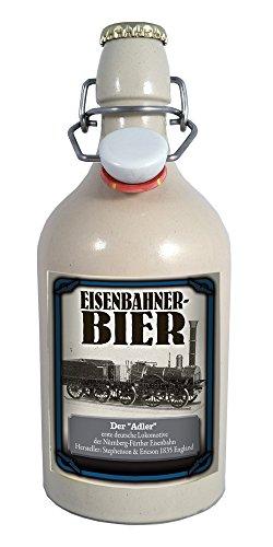 Eisenbahner-Bier Adler 0,75 Liter Tonflasche mit Bügelverschluss
