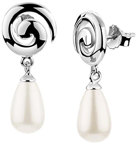 Nenalina Silber Damen-Ohrringe Ohrstecker Ohrhänger mit Muschel Perlen Tropfen, 925 Sterling Silber, Spiral Ohrringe für Frauen, Perlen-Ohrstecker, 722173-046