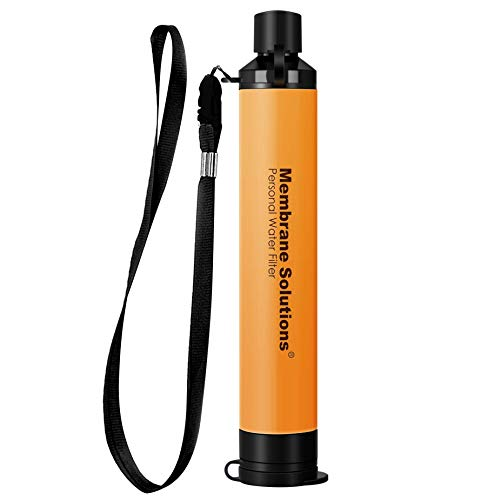 Membrane Solutions Personal Water Filter Straw, Portable Water Purifier with 0.1 Micron 4-Stage...
