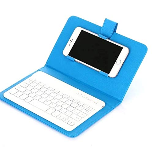 zhoufeng 4 Colors Portable For 4.5-6.8 Inch Mobile Phone Bluetooth Keyboard Smart Case Leather Stand Cover Computer Peripherals To maintain stability (Color : Blue)
