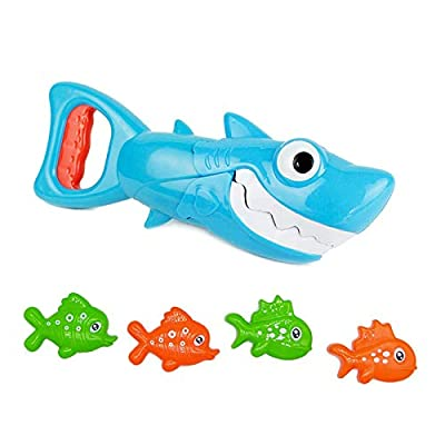 INvench Shark Grabber Baby Bath Toys - 2021 Upgraded Blue Shark with Teeth Biting Action Include 4 Toy Fish Bath Toys for Boys Girls Toddlers from INvench