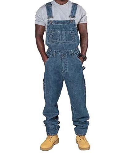 Herrenmode Jeans Denim-Latzhose Lose Mehrere Taschen Verstellbaren Trägern,Dark Blue,4XL