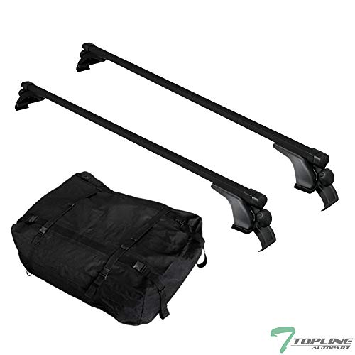 Topline Autopart 50' Universal Black Square Window Frame Aluminum Roof Rail Rack Cross Bars + Cargo Carrier Waterproof Utility Bag