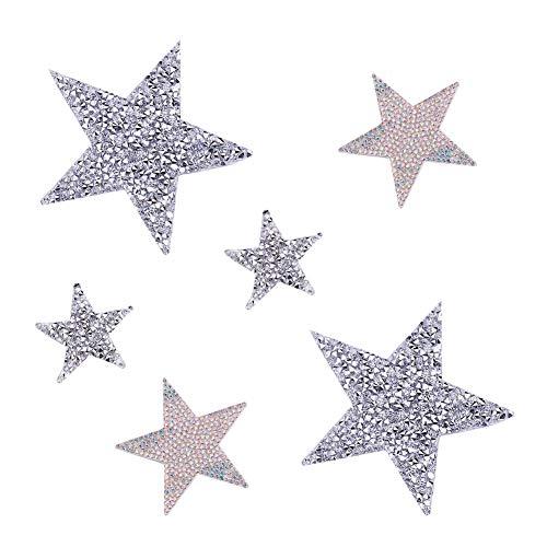 PandaHall 6 Pezzi 3 Dimensioni Star Crystal Glitter Adesivi Strass Toppe Ferro su Adesivi per la Decorazione Domestica del Vestito Patch Pentagramma