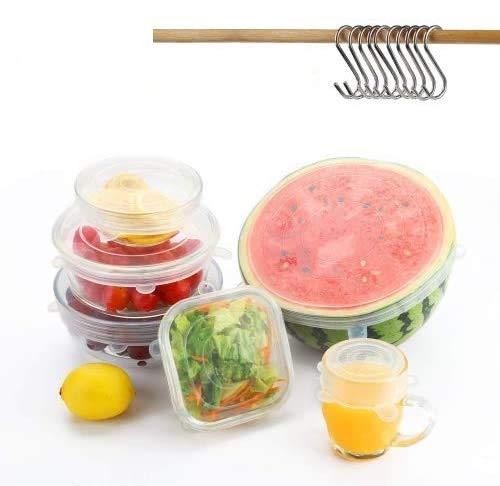 Besfair 12er Dehbare Silikondeckel, BPA Frei Silikon-Stretch-Deckel in Verschiedenen Größen, Alternative zu Frischhaltefolie & Alufolie, Wiederverwendbar Silikonabdekung für Küche