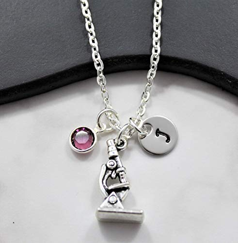 Microscope Necklace - Science Gifts - Personalized Birthstone, Initial, and Chain Length
