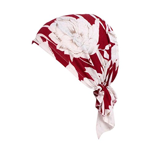 URSING Damen Weich Blumendruck muslimische Kopftuch Bandana Turban Chemo Krebs Cap Sommer Elegant Retro Kopftücher Sonnenhut für Haarausfall Krebs Chemo Haarausfall Make up (C)