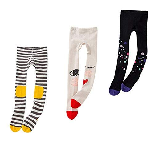 Baby Tights Toddler Girls Cute Knit Leggings Pantyhose Cotton Pants Stockings 1-8Y (M(3-5 Years), 3pcs(black dot & knee stripe & red eyes))