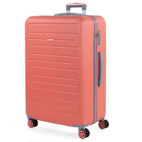 SKPAT - Maleta de Viaje Grande 4 Ruedas Trolley 76 cm Rígida de ABS. Dura Práctica Cómoda Ligera y Bonita Marca y Estilo. Candado TSA. Viajes Largos. 175070, Color Coral