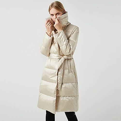 NZHK Overgangsjack voor dames, winterjas voor dames, donsjack, lange doorsnede met taille, grote revers lichte warme jas