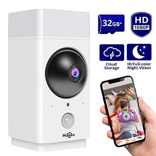 Hiseeu 1080P Wireless Security Camera ptz Indoor WiFi Camera Pet camera Baby monitor Infrared/full-color night vision, Two-Way Audio, Works with Alex
