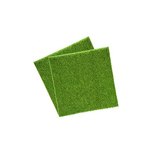 Wohlstand 2 Pcs Künstliche Rasen Gras Miniatur Garten Verzierung Kunstrasen Künstliche Rasen Simulation Mikro Landschaft Rasen 30x30 cm Simulation Gras Rasen DIY Puppenhaus Garten Ornament (Grün)