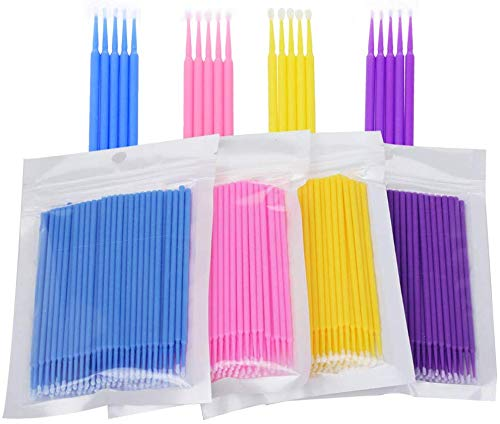 400 pcs Micro Applicateurs Brosses D'extension de Cils Jetables pour le Maquillage Les soins Dentaires et Oraux 4 Brosses de couleur