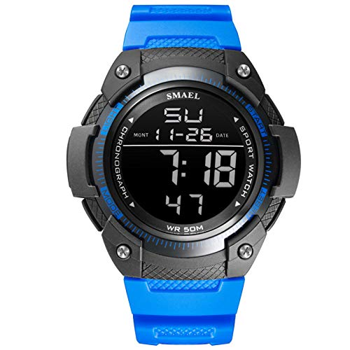 QZPM Relojes Deportivos para Hombre, Multifunción Impermeable Pantalla Deportiva Retroiluminación Relojes Digitales Analógico para Hombre,Azul
