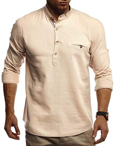 Leif Nelson Herren Leinenhemd Hemd Leinen Kurzarm T-Shirt Oversize Stehkragen Männer Freizeithemd Sommerhemd Regular Fit Jungen Basic Shirt Kurzarmshirt Freizeit Sweater LN3865 Camel X-Large