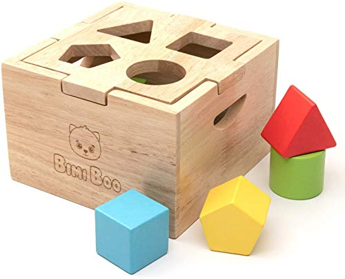 Bimi Boo Shape Sorter - Wooden Toy for Kids Age 2 - Classic Sorting Cube...