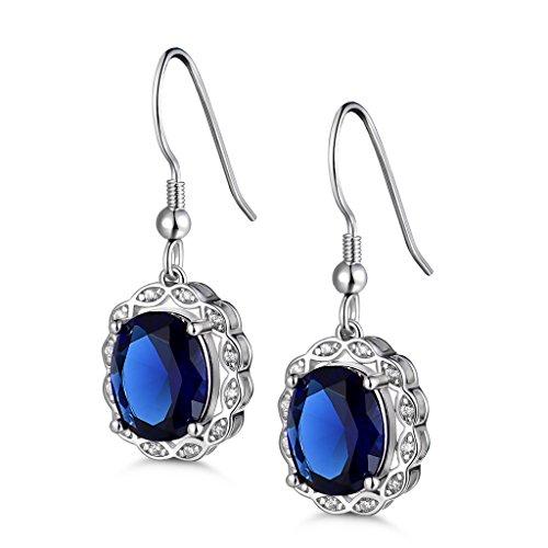 Gulicx - Orecchini a gancio, in argento 925, zaffiro blu, ovale, da principessa, regalo per donna
