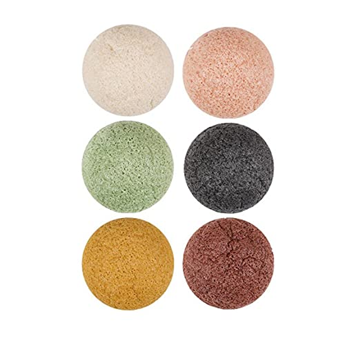 6PCS Exfoliant éponge konjac naturel éponge exfoliant éponge de nettoyage en profondeur éponge Nettoyant pour la peau sensible