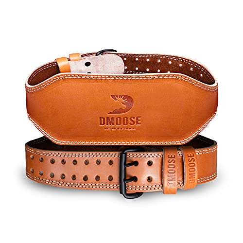 DMoose Fitness Weightlifting Leather Belt for Men and Women, 6 Inch, Posture Corrector for Deadlifts, Squats, Weightlifting, Powerlifting, Bodybuilding, and Great Lower Back and Lumbar Support
