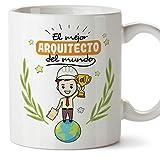MUGFFINS Arquitecto Tazas Originales de café y Desayuno para Regalar a Trabajadores Profesionales - El Mejor Arquitecto del Mundo - Cerámica 350 ml