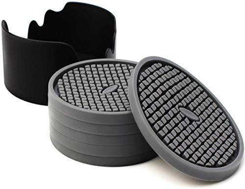 Sottobicchieri in silicone, sottobicchiere per bevande Sottobicchiere assorbente con scanalature profonde per proteggere i mobili dai danni, grande tappetino per tazza da 4 pollici, set di 6 (grigio)