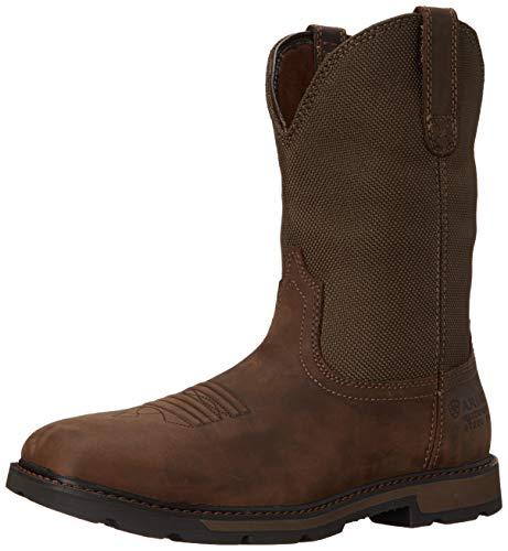 Ariat Men's Groundbreaker Wide Square Waterproof Steel Toe Work Boots, Palm Brown/Ballistic Brown, 10.5 2E US