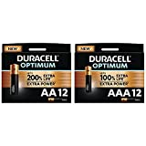 Duracell - Nuevo Pilas alcalinas Optimum, 24 Pilas (12 AA + 12 AAA), 1.5 Voltios LR6 LR03 MX1500 MX2400