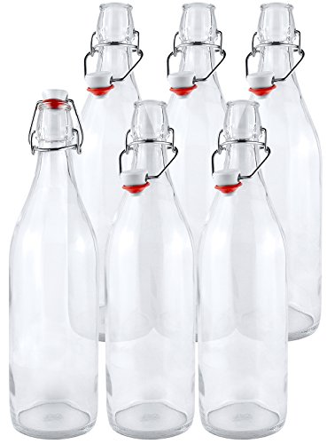 Estilo Swing Top Easy Cap Clear Glass Beer Bottles, Round, 16 oz, Set of 6