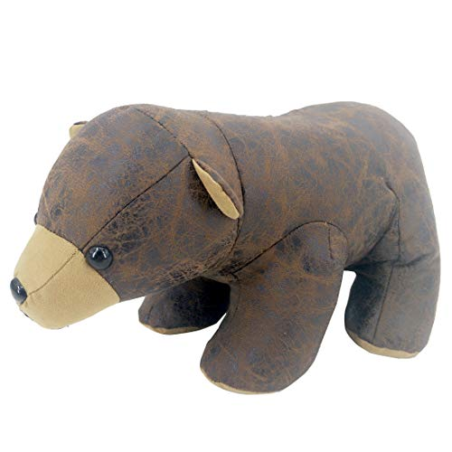Faux Leather Fabric Animal Door Stopper Bear Lover Gifts Decorative Doorstops Book Stopper Wall Protectors, Anti Collision Cute Bear