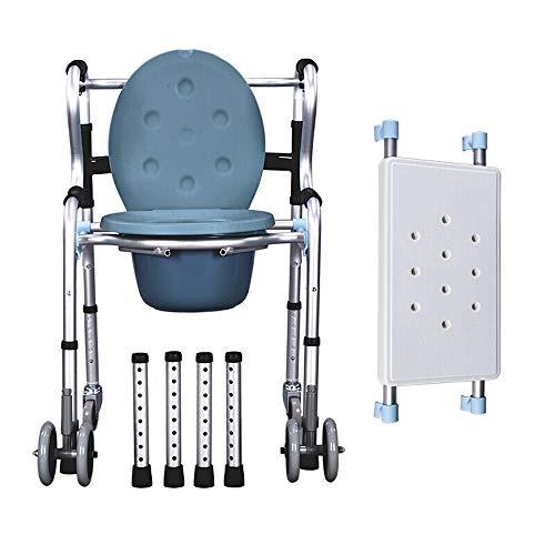 ZEQUAN Silla De Ruedas, Walker Senior Walker Aluminiumlegierung Behindertenstuhl Klappbarer Walker (mit Rad/Mit Sitzplatte)