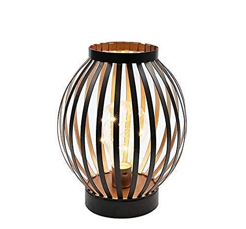 JHY DESIGN LED Tischlampe Batteriebetrieben 22cm Hoch Metall Nachttischlampe mit Edison Birne Batterie Lampe für Outdoor Garten Balkon Schlafzimmer Hochzeit Party Terrasse Innen Außen(Bronze Runde)