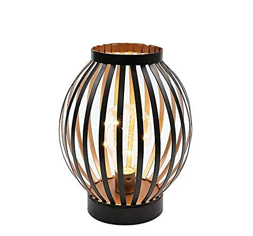 JHY DESIGN Lampada da Tavolo 22cm alta In Ferro Vintage Stile Gabbia luci Luce led a Batteria senza fili lampada comodino per camera da letto o soggiorno balcone matrimoni(Bronzo Forma rotonda)