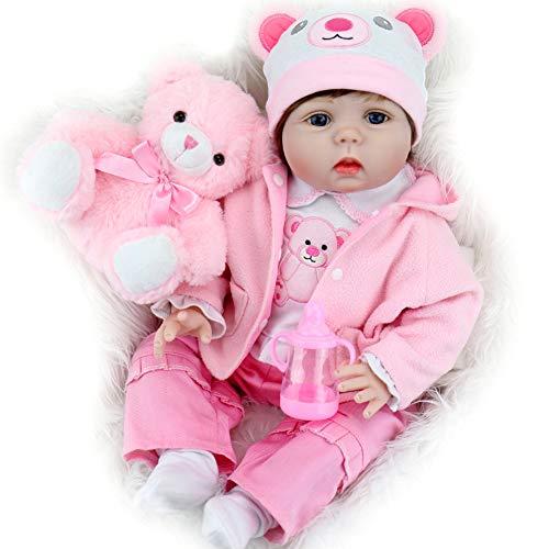 Aori Reborn Baby Dolls 22 Inch Handmade Vinyl Realistic Baby Girl Doll with Soft Body for Girls