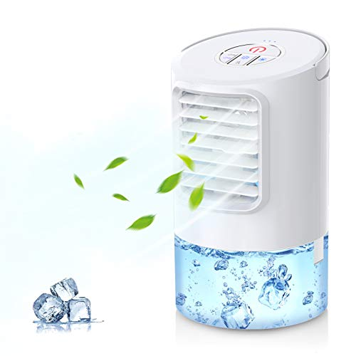 Mkocean Mobile Klimageräte, Mini Persönliche Klimaanlage, 4 in 1 Luftkühler Luftbefeuchtung Ventilator Nachtlicht, 2 Timer 3 Leistungsstufen 7, Ideal für Arbeitsplatz und Daheim