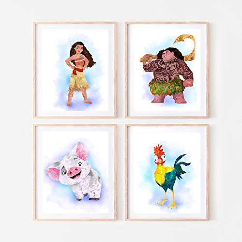 Disney Princess Watercolor Wall Art. Moana. Vaiana. Pua. Heihei. Nursery/Kids Room Wall Art. 4 set (8x10). Unframed.