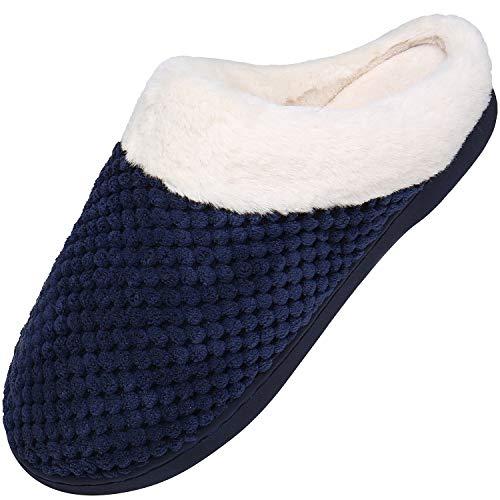 Memory Foam Hausschuhe Damen Winter Plüsch Pantoffeln Frauen Wärme Weiche Home rutschfeste Slippers mit Fell Blau-A Gr.38/39 EU (270mm)