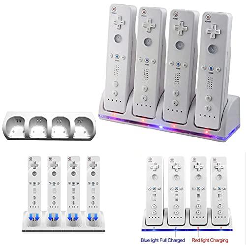 Yolispa Docking Station di Ricarica per Controller Wii con 4 Batterie Ricaricabili E Indicatori Led