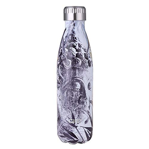 GiNT Stainless Steel Vacuum Insulated Double Walled Water Bottle for Outdoor Sports, Cola Shape,Travel Mug, 17oz / 500ML Buddha Head
