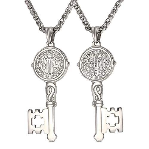 U7 Ward Off Evil Exorcism Jewelry Aço Inoxidável/Preto/18 K Banhado a Ouro de São Bento Design Colar com Pingente Chave medium