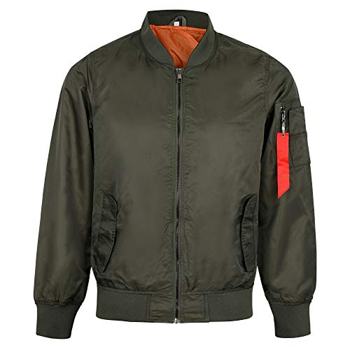 MADHERO Mens Bomber Jacket Lightweight Slim Fit Casual Fall Jackets Army Green Size XL