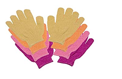 4 Paar Massage-Peeling-Dusch-Waschhandschuhe pink