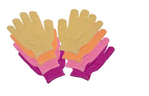 ReiTrade 4 Paar Massage-Peeling-Dusch-Waschhandschuhe pink, rosa, orange, gelb