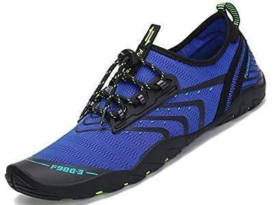 SAGUARO Hombre Mujer Barefoot Escarpines Zapatillas de Deportes Acuáticos Zapatos de Agua para Playa Buceo Surf Snorkel Yoga Piscina Bucear, Azul 43