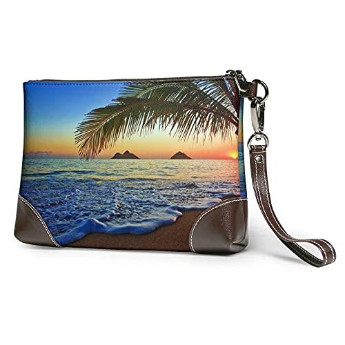 XCNGG Sunrise At Hawaii Bedruckte Clutch Geldbörse Abnehmbare Leder Wristlet Wallet Bag Damen Handtasche