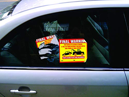 """Final Warning Stickers (Pack of 50) Parking Violation Notice Vehicle is Illegally Parked - Large Size 6"""" X 9"""" – Yellow Photo #2"""