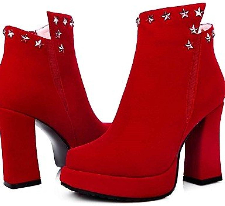 XZZ  Damenschuhe - Stiefel - Kleid - Vlies - Spulen Absatz - Spitzschuh   Modische Stiefel - Schwarz   Rot