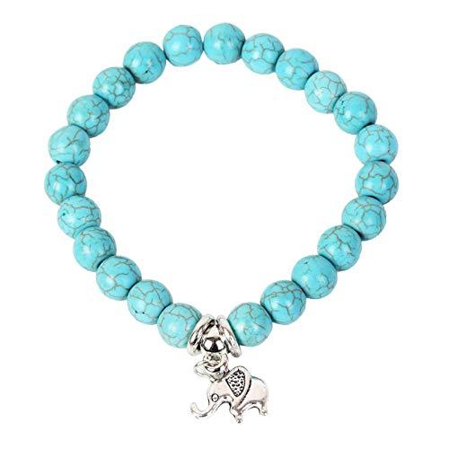 Plata Tibetana Turquesa Lindo Encantador Brazalete Pulsera Azul Elefante Joyas Regalo