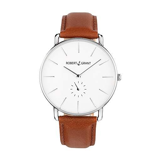 Robert Grant Armbanduhr mit Echt Lederarmband - Edelstahl, Mineralglas, Universal, Damen u. Herren Uhr - Leder Armband in Cognac - Silber 32 mm